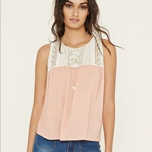 Flowy Pink Top with Embroidered Crochet Detail